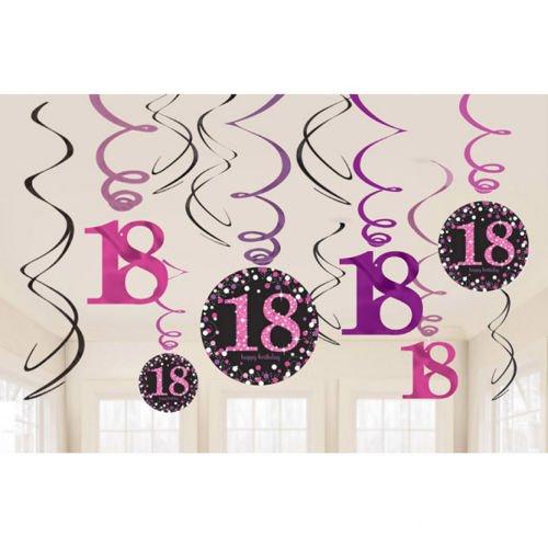 0de6b787f78074 Świderki dekoracyjne 18 urodziny różowe 12szt | Sklep Partybudziki.pl