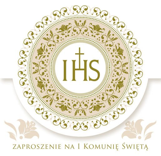8c729d6897 Zaproszenia I Komunia Święta złoty ornament 1szt ...